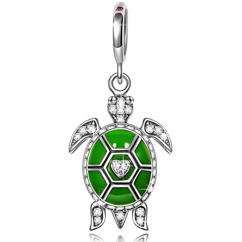 Ninaqueen 925 Sterling Silver Green Enamel Ocean Turtle Dangle Charms Fit Pandora Bracelet