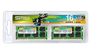 シリコンパワー メモリモジュール 204Pin SO-DIMM DDR3-1333(PC3-10600) 8GB×2枚組 SP016GBSTU133N22
