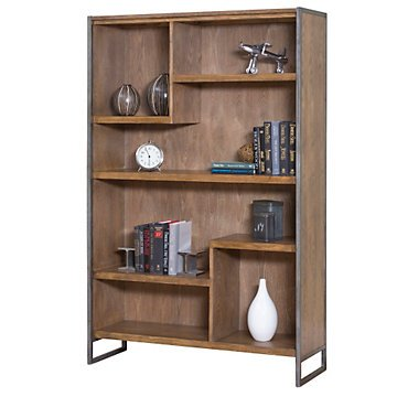 "Belmont Asymmetrical Seven Shelf Bookcase - 42""W x 66""H (Brushed Ash Finish/Rustic Wire Frame)"