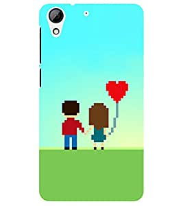 Chiraiyaa Designer Printed Premium Back Cover Case for HTC Desire 728 (boy girl friend valentine miss kiss couple heart) (Multicolor)