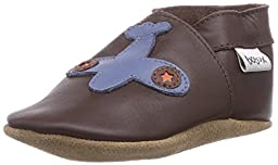 Bobux Kids Baby Boy\'s Soft Sole Airplane (Infant) Chocolate/Blue Boot SM (3-9 Months) M