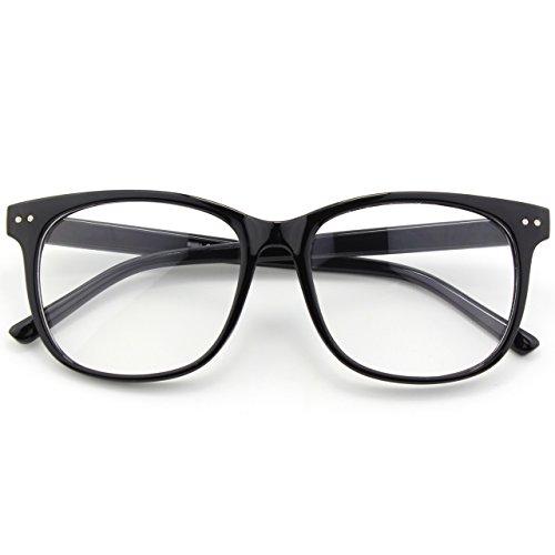 Happy Store CN81 Large Oversized Bold Frame UV 400 Clear Lens Horn Rimmed Glasses,Glossy Black