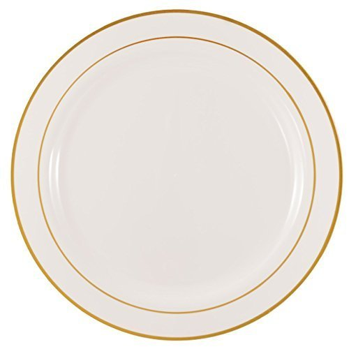 the-kaya-collection-1025-elegant-white-and-gold-plastic-round-plate-1-pack-10-count-by-kaya-collecti