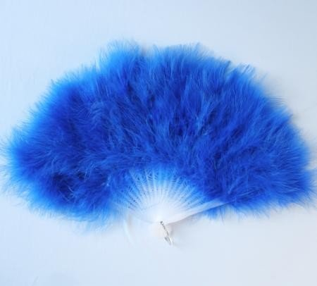 Flufffy Rich Marabou Feather Fan Sapphire Blue