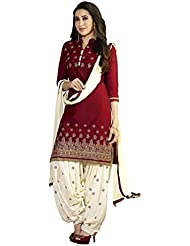 Wearwon Women's Clothing Designer Party Wear Low Price Sale Offer Maroon & White Color Cotton Embroidered Free...