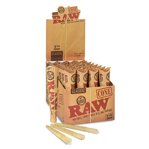 192 RAW Rolling Paper Cones Natural Hemp - full box 32 packs of 6 (Raw Cones Case compare prices)