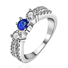 buy Amdxd Jewelry Gold Plated Women Rings Blue 4-Prongs Cz,3-Prongs Cz Inlaid Size 8