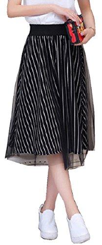 Liliumoon ストライプ チュール 2枚重ね スカート ふんわり フレア Aライン ひざ下 ミモレ 丈 レディース ファッション (ブラック)