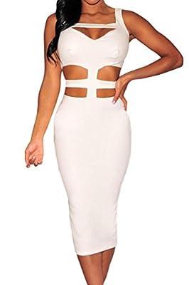 Dear-Lover Women's Cut-out Peep-hole Midi Dress