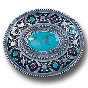Pewter Belt Buckle - Southwestern Design - Turquoise - Pewter Belt Buckle