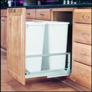Rev-A-Shelf 50Qt Double Pull Out Waste Bin White