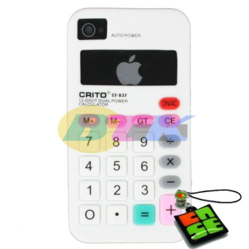 BTK - White Calculator Soft Silicone Skin Cover Case for Apple iPhone 4 4G / CDMA / 4S + Signal Blinker