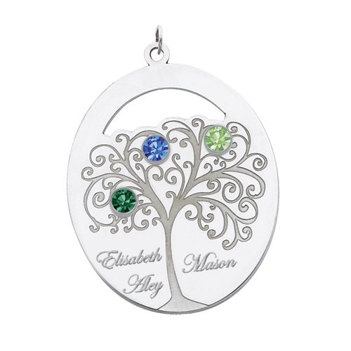 Sterling Silver Oval Family Tree Pendant With 3 Stones