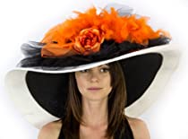 Muse Mel Ladies Kentucy Derby Dress Hat with Flowers and Feathers Hat Colors: Orange