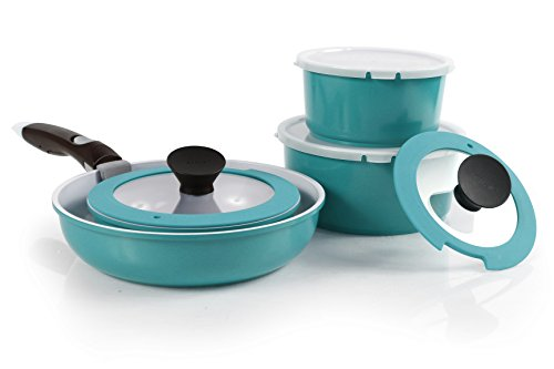 Neoflam 9-Piece MIDAS Plus Cast Aluminum Cookware Set with Detachable Handle, Emerald Green