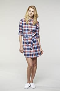 L!VE Long Sleeve Button Down Cotton Check Woven Dress