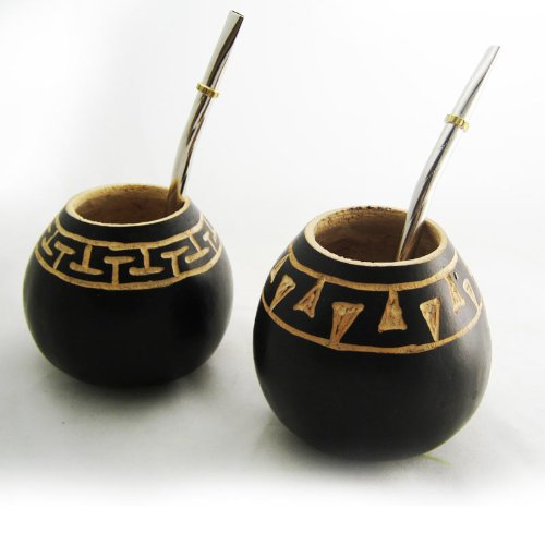 Argentina Mate Gourd Yerba Tea With Straw Bombilla Kit Artisan Handmade 6693 New