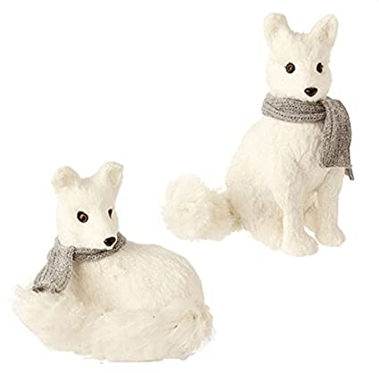 Snowy Time Glittered Sitting White Fox Christmas Table Top Decoration by Raz