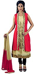 Aarshi Women's Crepe Stitched Salwar Suit (KMD/DS/001/2730_M, Beige & Red, M)