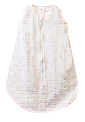 SwaddleDesigns zzZipMe Sack with 2-Way Zipper, Muslin Wearable Blanket, Dots, Pink 3-6months - 1