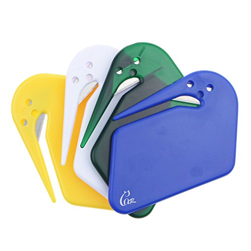 Gracallet® 4 Pcs Assorted Color World's Most Efficient Handheld Letter Opener Envelope Slitter with Concealed Blade (4 pcs assorted color)