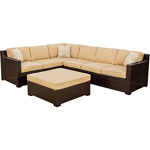 Hanover METRO5PC Metropolitan 5-Piece Outdoor Lounging Set, Includes 2 Loveseats, Corner Chair, Armless Chair and Large Ottoman picture
