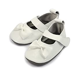 Mary Janes Bow White 0-6 mos