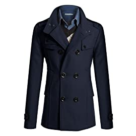 Mens Double PEA Wool Half Trench Coat (868)