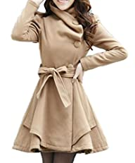 Women's Fold-Collar Tie Front Wool-like Coats with Skirted Hem