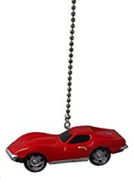 Classic antique muscle Chevrolet sports car CEILING Fan PULL light chain extender ornament (\'69 Red Chevy Corvette Stingray ZL-1)