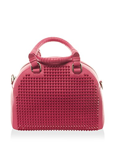 Christian Louboutin Women's Panettone Small Calf Ranch Leather Bag with Spikes, Fuchsia
