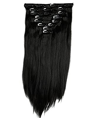 "S-noilite® 23"" Straight Natural Black Full Head Clip in Hair Extensions 8 Piece 18 Clips Hairpiece Trendy Design USA Local Post"