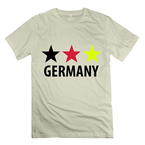 Yongth Men'S Germany 100% Cotton T-Shirt - Fans Tee Natural Us Size M