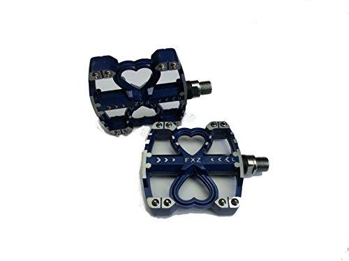 フラット ペダル CNC 加工 チタン シャフト 自転車 ブルー 青