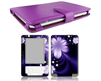 Bundle Monster - Kindle 2 Genuine Leather Case Cover Jacket, Skin Sticker and Screen Protector Ebook Accessories Combo