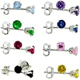 8 Pair Set Sterling Silver 4mm Color CZ Stud Earrings Light Blue Purple Green Blue Red Pink Black & Yellow Colors
