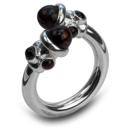 Certified Genuine Dark Cherry Amber Sterling Silver Designer Ring