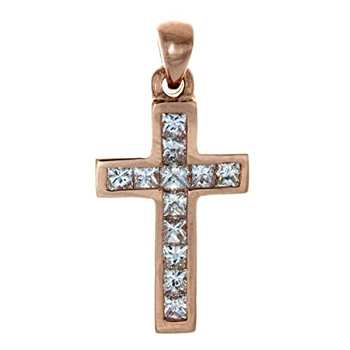 14K Rose Gold Cross Pendant, 12 Princess Cut Diamonds In Channel Setting (Gh, S1)