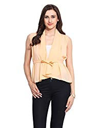 Solid Peach Georgette Lace Shrug Large