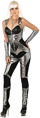 Forum Novelties Women's Futuristic Costume Jumpsuit, Silver/Black, Medium/Large (Futuristic Space Costume compare prices)