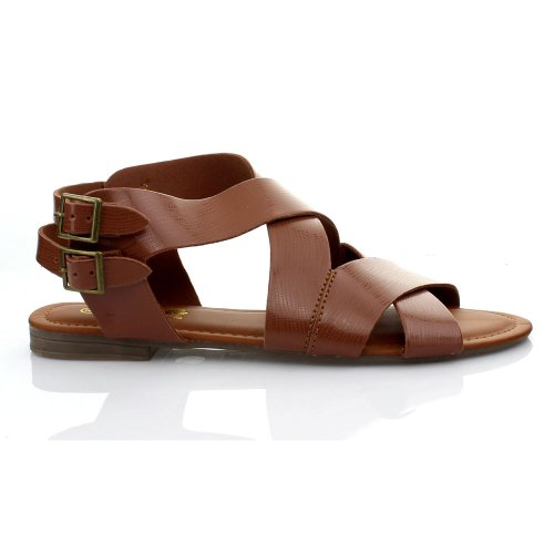 Anna Women'S Cutsy-1 Flat Fashion Strappy Sandals,Tan,7 front-411465