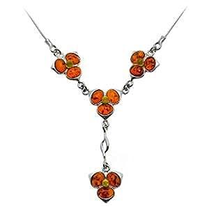 Multicolor Amber Sterling Silver Flower Necklace 43cm