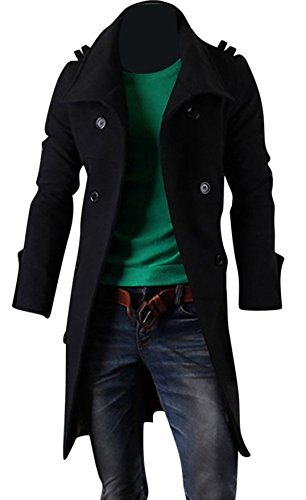 Keral Mens Double Breasted Coat Casual Solid Color Turn Down Collar Slim