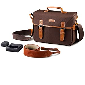 Samsung NX Camera Bag with Charger, BP1130 Battery and Strap Bundle (Brown)