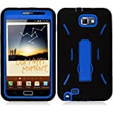 Samsung Galaxy Note LTE I717 Armor Case Blue Hard Plastic Inside with Black Silicone Protector Cover with Kick Stand