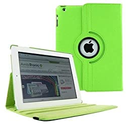 Leather 360 Degree Rotating Smart Stand Case Cover For New iPad 4 iPad 3 iPad 2 - green