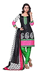 SayShopp Fashion Women's Unstitched Regular Wear Cotton Printed Salwar Suit Dress Material (ZDM-32_Black,White,Green,Pink_Free Size)