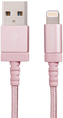 AmazonBasics - Cavo USB-Lightining con guaina in nylon intrecciato, certificato Apple, 0,9 m, oro rosa