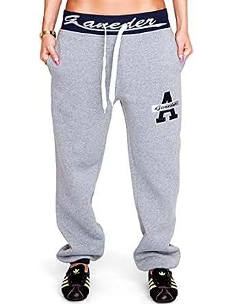 24brands Damen Sporthose Fitnesshose Sweathose Jogginghose Freizeithose Laufhose Trainingshose Tanzhose Sweatpants mit Print - 1843, Größe:XL;Farbe:Grau/Blau