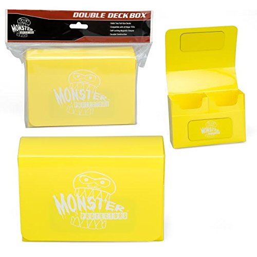Monster Protectors Trading Card Double Deck Box with Magnetic Closure - Yellow (Fits Yugioh, Pokemon, Magic the Gathering Cards)